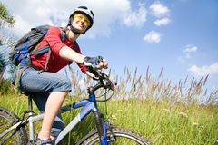 Young cyclist in the park Stock Images