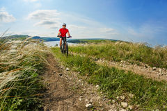 Young cyclist riding the mountain bike on the beautiful summer trail in the countryside against blue sky with clouds. Royalty Free Stock Images