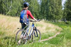 Young cyclist  traveling Stock Photography