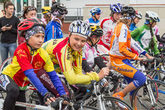 Young cyclists. Tambov, Russian Federation - September 15, 2012: Young cyclists before the start cycling through the streets of the city. Every autumn cycling stock photos