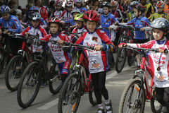 Young cyclists of sports school of Pyatigorsk (Russia) on parade Stock Photo