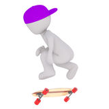 Young 3d toon skateboarder performing trick. Full body young 3d toon skateboarder performing jumping trick on white background Royalty Free Stock Photos