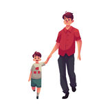 Young dad holding his little son hand and walking together Royalty Free Stock Image