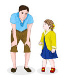 Young dad leaned over to the little daughter. Father's Day. Caring parents. Girl looking at the man. Vector Stock Photo