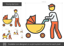 Young dad line icon. Young dad vector line icon isolated on white background. Young dad line icon for infographic, website or app. Scalable icon designed on a Stock Photography