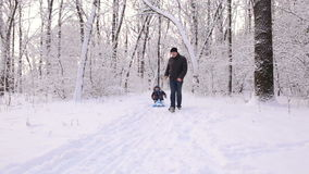 Young dad pushing son on a sled in the winter alley. stock video footage