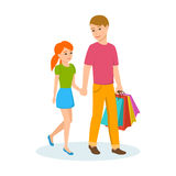 Young dad walking daughter down the street holding hands, walking. Young dad walking the daughter down the street holding hands, walking in good mood. Vector royalty free illustration