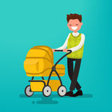 Young dad walking with a newborn that is in the stroller. Vector. Illustration of a flat design Stock Photos