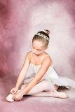 Young Dancer. Wearing a tutu and tiara stock photo