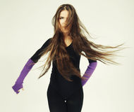 Young dancer with long hair Stock Images