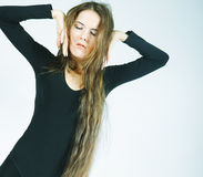 Young dancer with long hair Stock Photos
