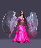 Young dancer performing oriental dance. Full length portrait of young dancer performing oriental dance Royalty Free Stock Photos