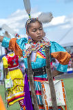 Young dancer at powwow. Coeur d'Alene, Idaho USA - 07-23-2016. Young dancers participate in the Julyamsh Powwow on July 23, 2016 at the Kootenai County royalty free stock photography