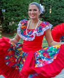 Young dancer from Puerto Rico in traditional costume. TIMISOARA, ROMANIA - JULY 6, 2017: Young dancer from Puerto Rico in traditional costume present at the royalty free stock photo