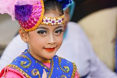 A young dancer is ready for performing on stage. stock photography
