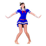 Young dancer woman dressed as a sailor posing on Royalty Free Stock Photography