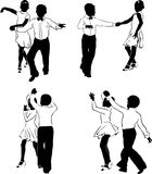 Young dancers #1. Beautiful high detailed figures of dancers drawn manually. May be useful as elements for the designers. Vector EPS format available Stock Photography