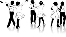 Young dancers #4. Beautiful high detailed figures of dancers drawn manually. May be useful as elements for the designers. Vector EPS format is available Stock Image
