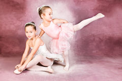 Young Dancers. Wearing a tutu and tiara royalty free stock photos