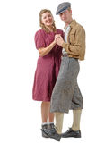 Young dancers couples in vintage clothing, 40s Stock Photography