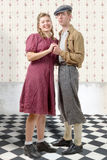 Young dancers couples in vintage clothing, 40s. A young dancers couples in vintage clothing, 40s Royalty Free Stock Image