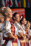 Young dancers from Romania in traditional costume Royalty Free Stock Photos