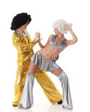 Young dancing couple. Young dancing couple in funny suits on a white background royalty free stock images