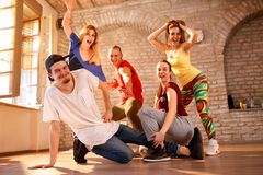 Profesional Dancing group havin fun Royalty Free Stock Photos