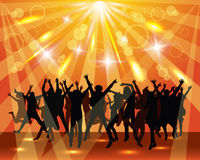 Young dancing people on the party. Sunny background. Background with dancing people silhouettes Royalty Free Illustration