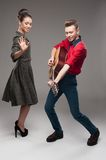 Young dancing retro couple Royalty Free Stock Image
