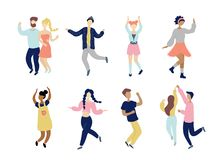 Young dancing tiny stylish people set. royalty free illustration