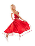 Young dancing woman. In long red dress royalty free stock photography