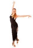 Young dancing woman with black dress Stock Photography