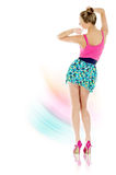Young dancing woman | Isolated. Young woman dancing over colorful background. Isolated over white background stock photos
