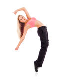 Young dancing woman on white background royalty free stock images