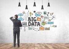 Young dark hair businessman looking at big data stock illustration