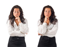 Young dark haired business woman doubt. Dark haired white blouse and black skirt dressed  young business woman doubt on white background Royalty Free Stock Photos