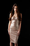 Young dark haired woman in evening dress, vertical Royalty Free Stock Photos