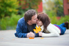 Young dating couple on a fall day Royalty Free Stock Photography