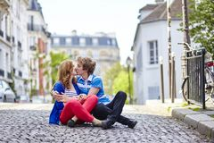 Young dating couple kissing Royalty Free Stock Photography
