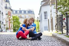 Young dating couple kissing royalty free stock photos