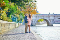 Young dating couple in Paris on a fall day Stock Photography