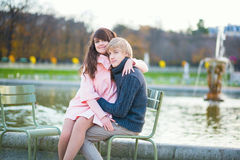 Young dating couple in Paris royalty free stock images