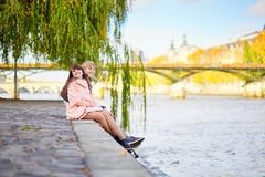 Young dating couple on the Seine embankment Royalty Free Stock Photo