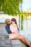 Young dating couple on the Seine embankment Royalty Free Stock Photography