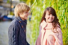 Young dating couple on the Seine embankment Royalty Free Stock Images