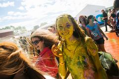 Young, decorated people participate in the Holi festival of colors in Vladivostok. stock images