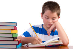 Young dedicated middle school male kid studying Royalty Free Stock Images