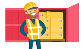 Young delivery man checking parcel with the list. Young caucasian white delivery man checking parcel with the list in clipboard. Man preparing parcel box for stock illustration