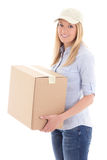 Young delivery woman holding carboard box isolated on white Royalty Free Stock Photography